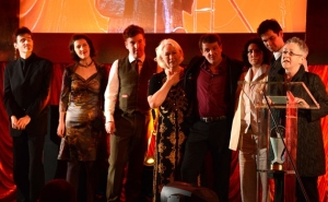 Druid Theatre Company team accept the award for Best Production.  Photograph: Dara Mac Dónaill/The Irish Times
