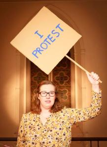 Me, protesting - from the Smock Alley newsletter.