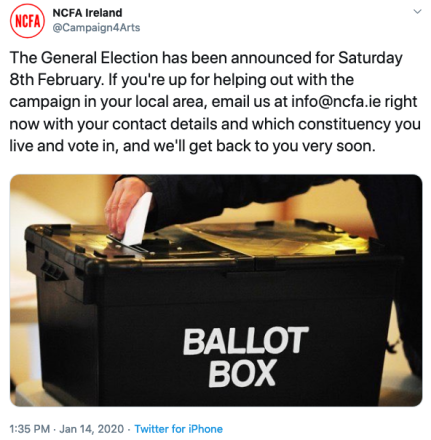 If you're up for helping out with the NCFA campaign in your local area, email us at info@ncfa.ie right now with your contact details and which constituency you live and vote in, and we'll get back to you very soon